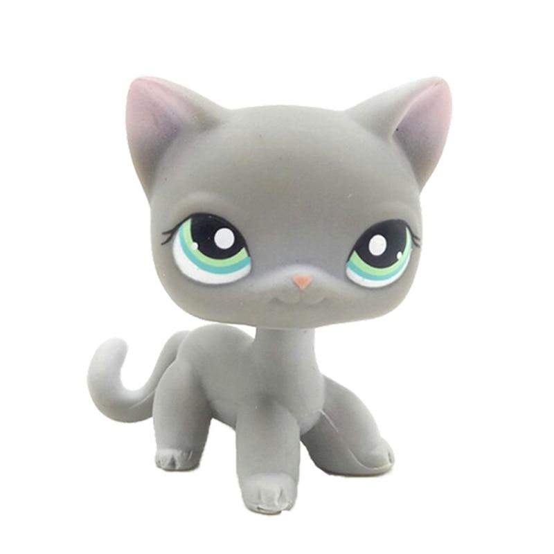Pet Shop Toys Original  #126 Short Hair Cat Grey Standing Kitten Green Eyes Cute Child Gifts Animal Figure