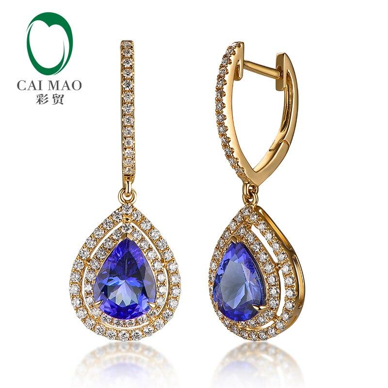 CAIMAO 14K žluté zlato 1,823ct modré tanzanitové 0,60ct přírodní diamantové zásnubní náušnice