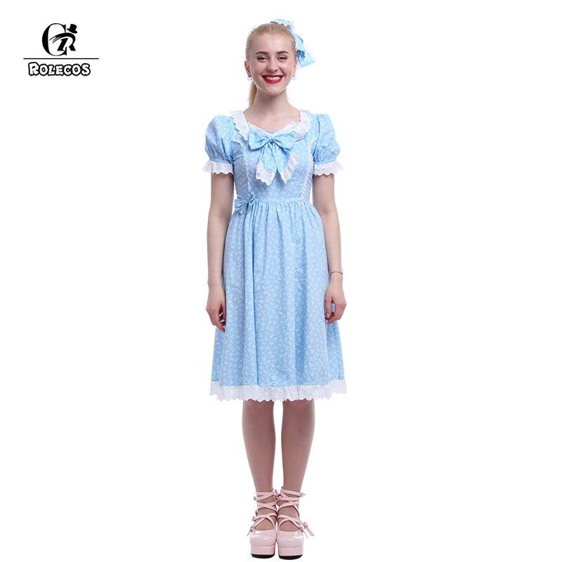 ROLECOS 2018 Новое поступление милое платье лолиты голубое платье фильм блестящие Близнецы платье Лолита милое женское платье фильм косплей