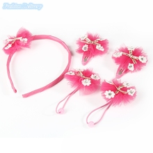 5in1 Kids Hair Accessories Cute Flowers Hair Hoop BB Clips Lace Hair Ropes Fashion Girls Headdress New Year Gifts Free Shipping