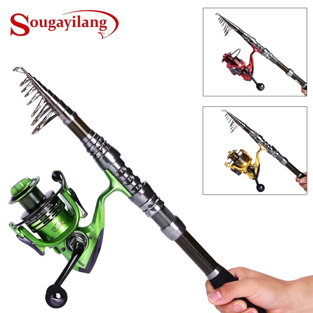 Sougayilang Carbon Telescopic Fishing Rod with 13 1BB Spinning Fishing Reel Combo Fishing Pole Wheel Sets