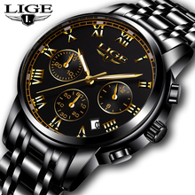 LIGE Mens Watches Top Brand Luxury Casual Fashion Watch Men Stainless Steel Waterproof Clock Quartz Wristwatch Relogio Masculino mens watches top luxury brand sports watch skmei countdown stainless steel strap quartz wristwatch men clock relogio masculino