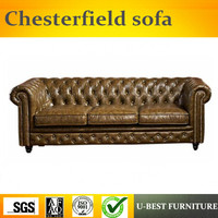 U BEST European new classical real leather sofa, American style 123 combination of luxurious carved villa chesterfield sofa