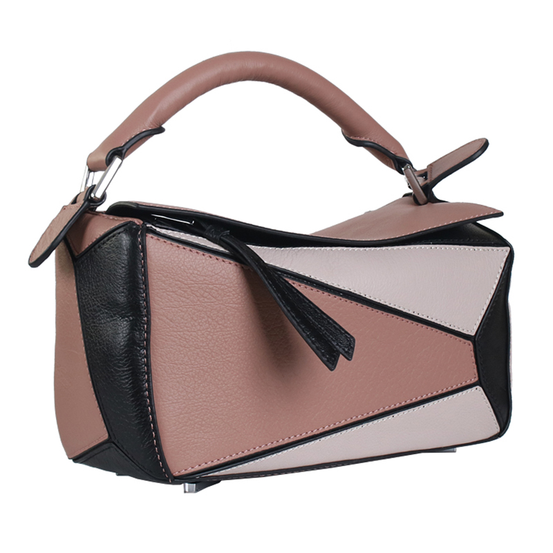 Sheng Lun Lai Women Bag Genuine Leather Designer Handbags High Quality Fashion Geometric Patchwork Cow Shoulder Bags In From Luggage