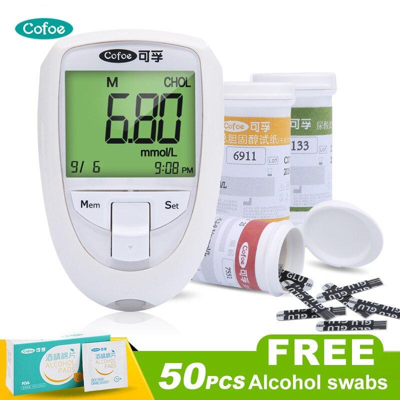 Cofoe Cholesterin & harnsäure & Glucose Test Meter Kit 3 in1 Multi-Funktion Überwachung System Diabetes Gicht Gerät mit Streifen