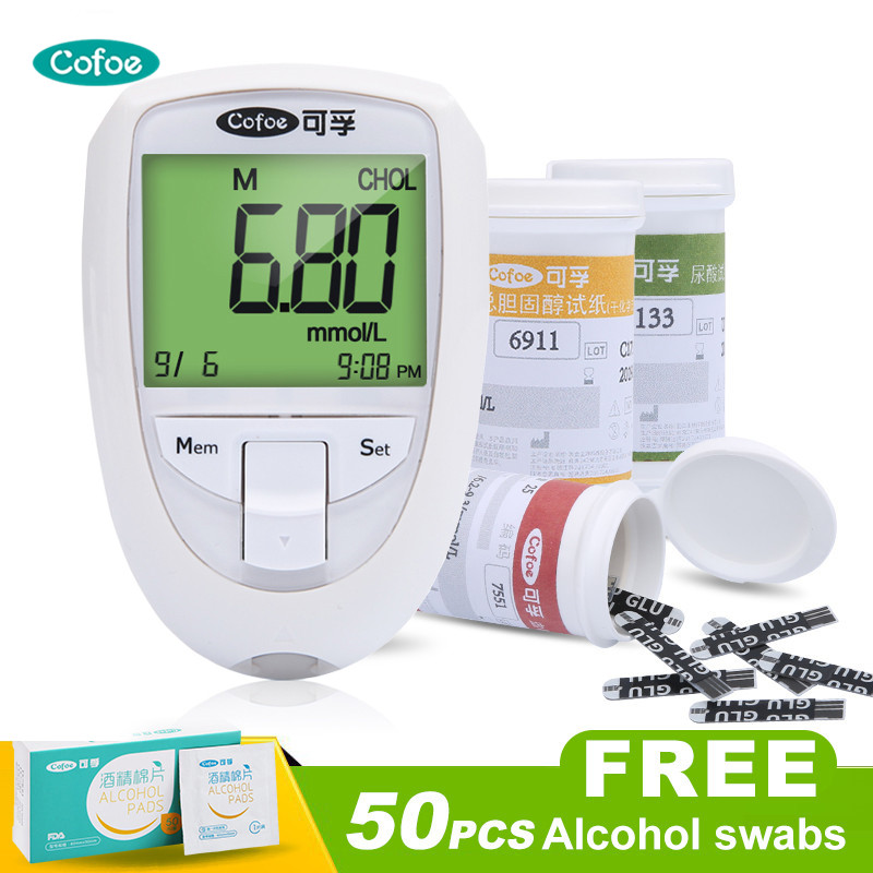 Cofoe Cholesterol Uric acid Glucose Test Meter Kit 3 in1 Multi Function Monitoring System Diabetes Gout