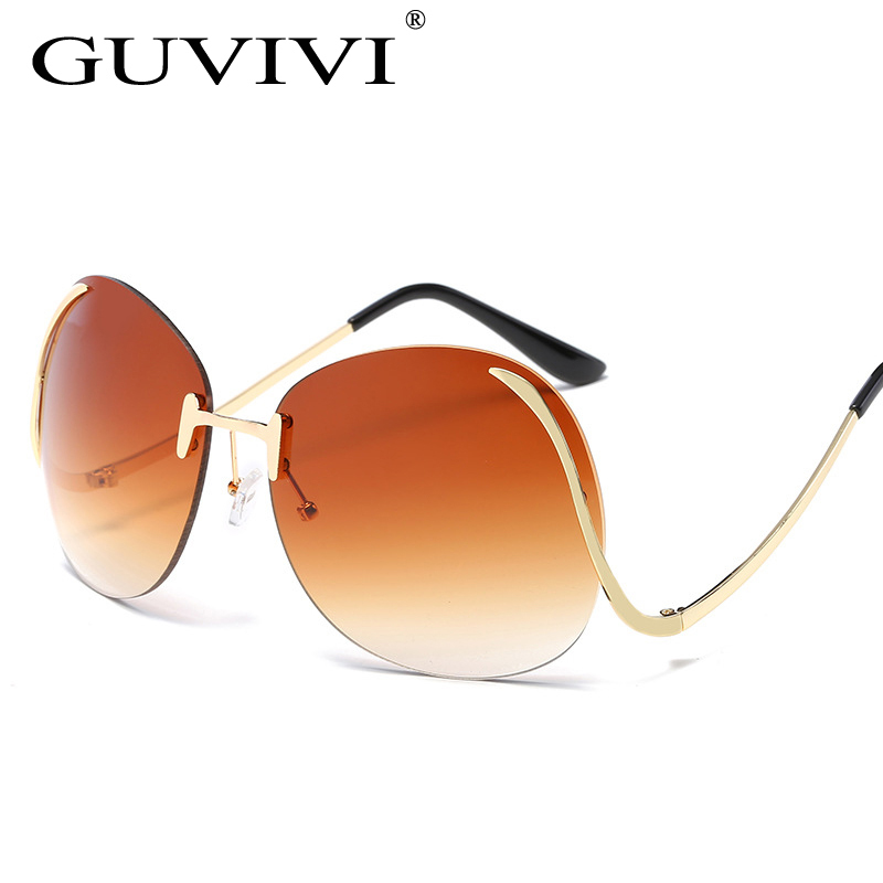 3068355f89a7 Oversized Semi-Rimless Vintage clear lenses Sun Glasses square Double Gold  frame