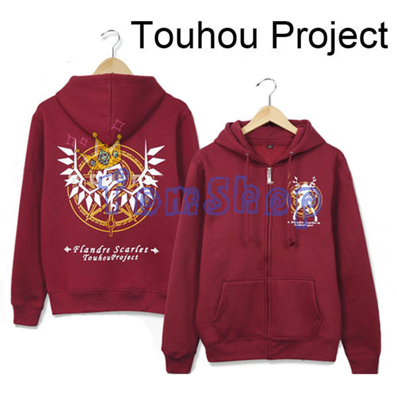 Anime Touhou Project Flandre Scarlet Cosplay Unisex Red Zipper Hoodie Coat Sweatshirt Thick Warm Hooded Jacket Free Shipping