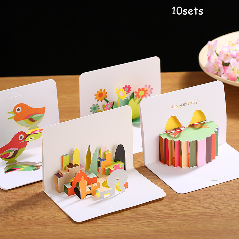 10sets 3D Creative Paper Carving Stereo Greeting Card Children Birthday Gift Thank You Wish Blessing