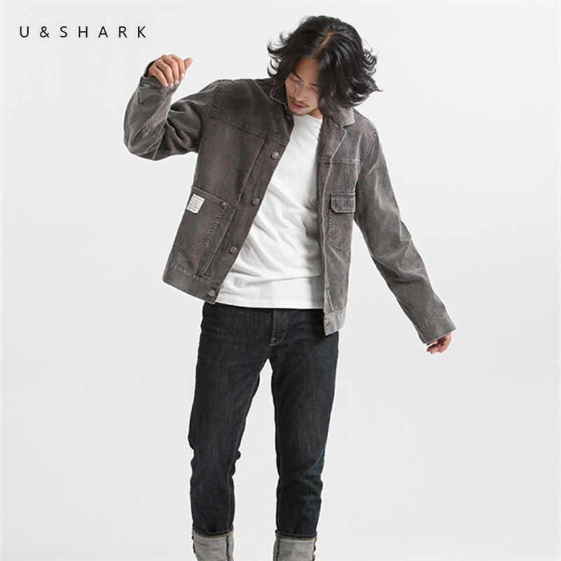 U & SHARK осенние вельветовые куртки повседневная мужская хлопковая верхняя одежда ретро модные пальто мужские высококачественные серые куртки с длинными рукавами пальто