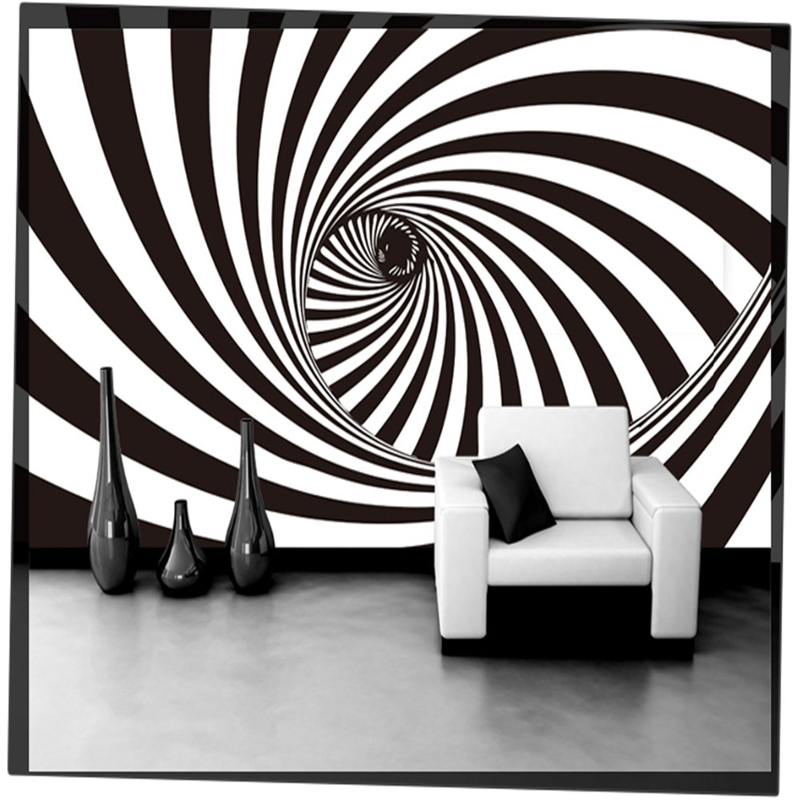 Us 9 3 38 Off Beibehang 3d Three Dimensional Black And White Swirls Personalized Minimalist Style Bar Shop Wall Painting Papel De Parede In