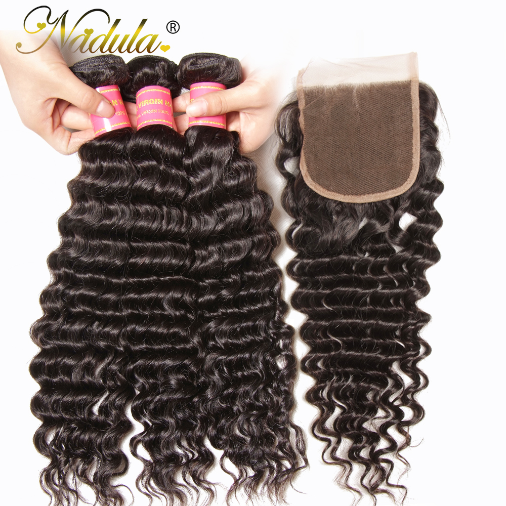 Nadula Hair  Deep Wave Bundles With Closure 10-28 inch 100%  s With Lace Closure Natural Color 3