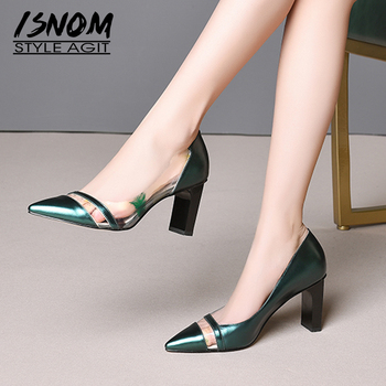 ISNOM Print Transparent Pvc Pumps Women Pointed Toe Footwear Party High Heels Shoes Female Shallow Leather Shoes Woman Summer
