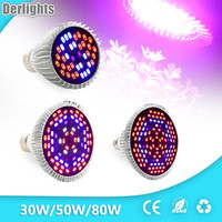 30 W/50 W/80 W הוביל לגדול ספקטרום מלא אור UV + IR E27 לגדול אור עבור מערכת פריחת הצמח והידרופוניקה LED מנורת AC85 ~ 265 V