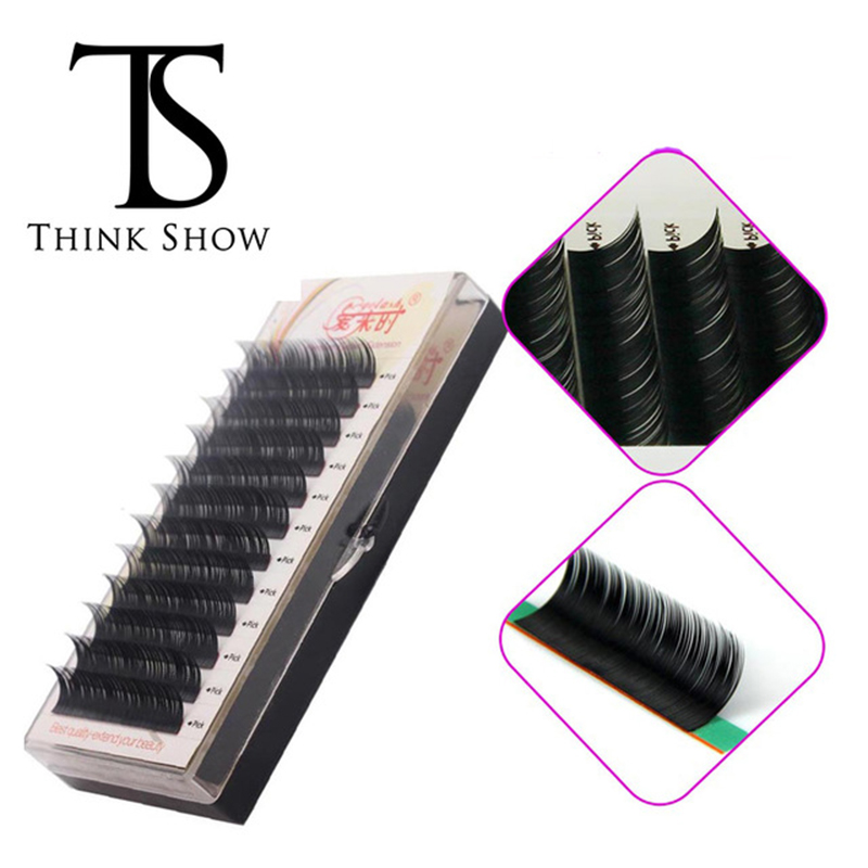 THINKSHOW 3D Individual Lash Extension Korea Handmade Natural Volume Silk Lashes Curl B C D Thick Eye Lashes Extension Makeup ...
