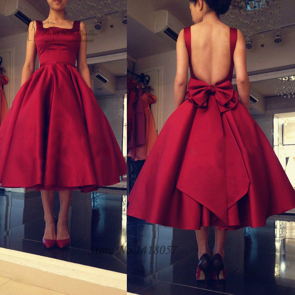 Short African Burgundy   Prom     Dresses   2016 Tea Length Elegant Evening Party   Dress   Gowns Backless Satin Bow Vestido de Festa