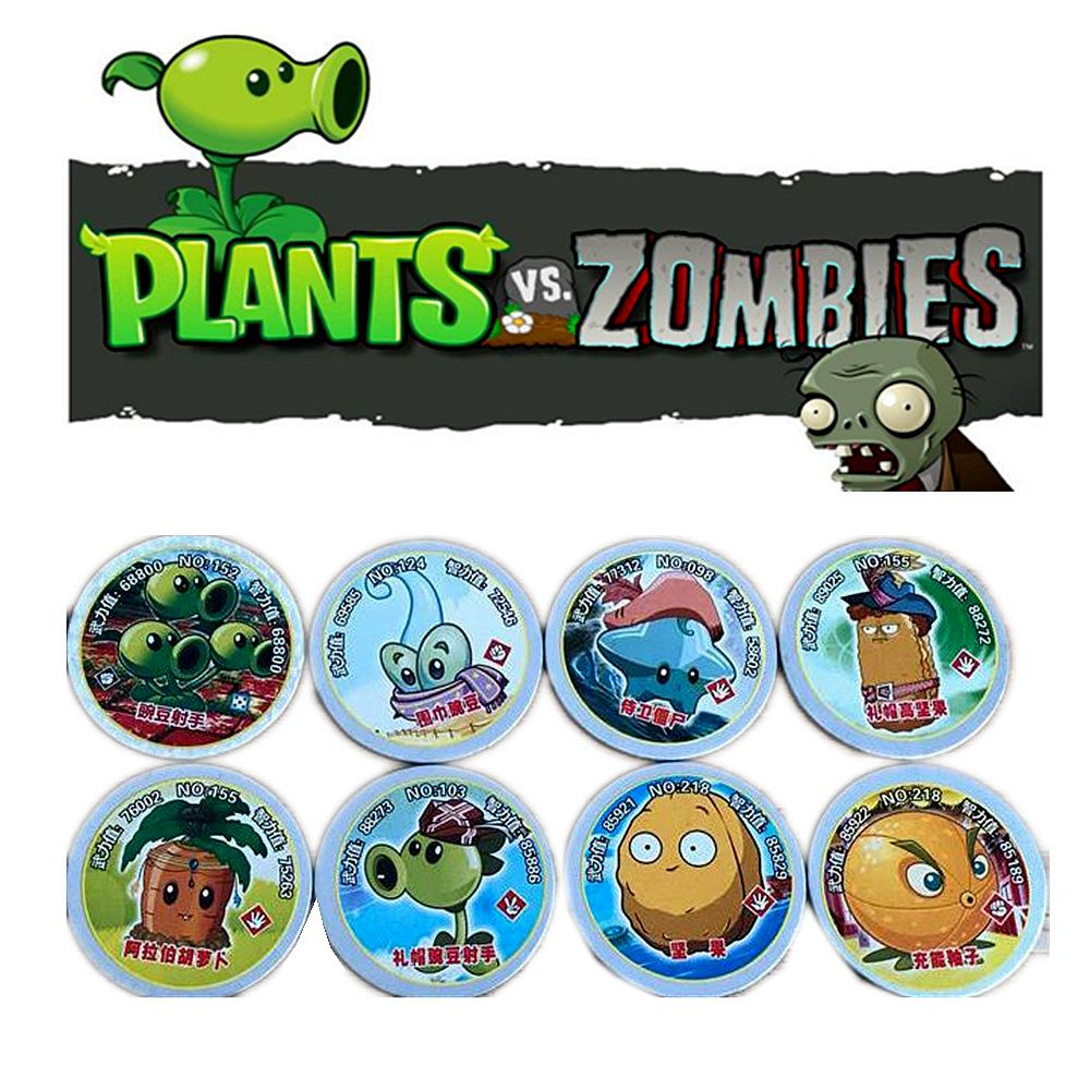 48 Pcs/lot Plants Vs Zombies Round Cards Shaped Pea Shooter Sunflower Figure Family Entertainment Kid Gift Toy