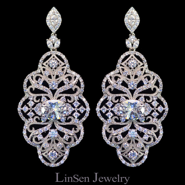 6.2 cm long luxury zircon hollowed out big vintage earrings,sparkling high quality zircon earrings for women wedding/party/gift