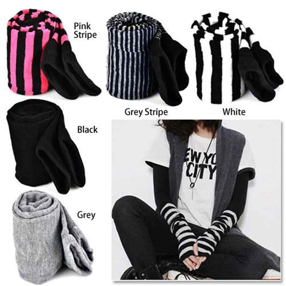 Lady Stretchy Soft Arm Warmer Long Sleeve Fingerless Gloves