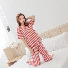Vertical Stripe  Pyjamas Women 100% Cotton Breathable Two Piece Set Sleeping Clothes Pijama Nightwear Ladies Pajamas