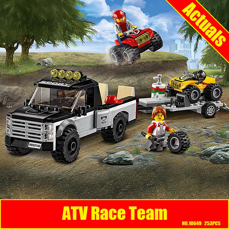 10649 253Pcs City Figures Vehicles ATV Race Team Model Building Kits Blocks DIY Bricks Toys For Children Compatible 60148 10646 160pcs city figures fishing boat model building kits blocks diy bricks toys for children gift compatible 60147