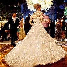 Gorgeous Long Sleeves Lace Wedding Dresses V Neck Button Back Bridal Gowns vestido de noiva DG0056