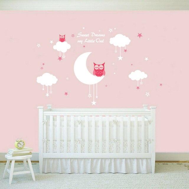 Neue 2018 Nursery Wandtattoos Baby Eulen für Süße Träume mit Wolken ...