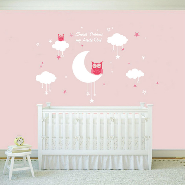 New 2018nursery Wall Decals Baby Owls For Sweet Dreams With Clouds And Stars Nursery Vinyl