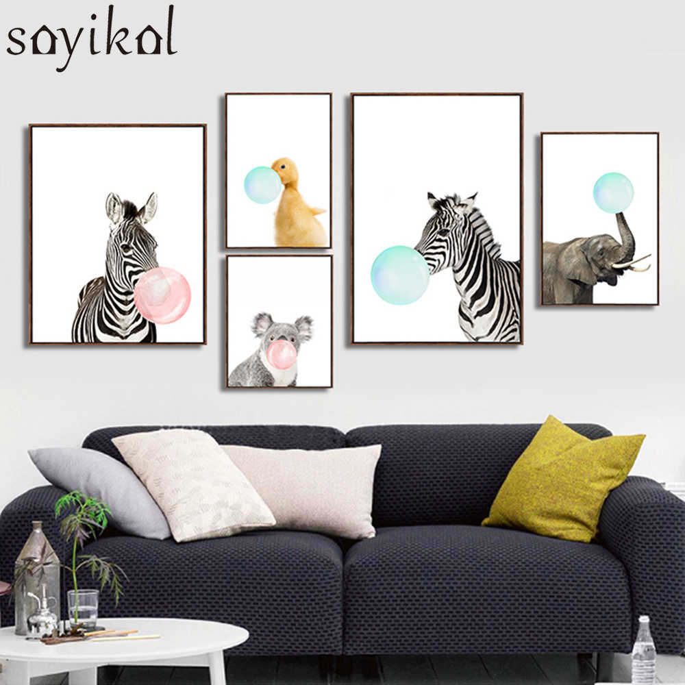 Canvas Painting Prints Giraffe Zebra Animals Posters and Prints Art Wall Nursery Picture Kids Room Decor No Frame Nordic Poster