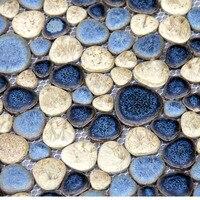 セラミック小石モザイクタイルキッチンbacksplashのシャワー壁紙浴室水泳プール壁背景タイル卸売