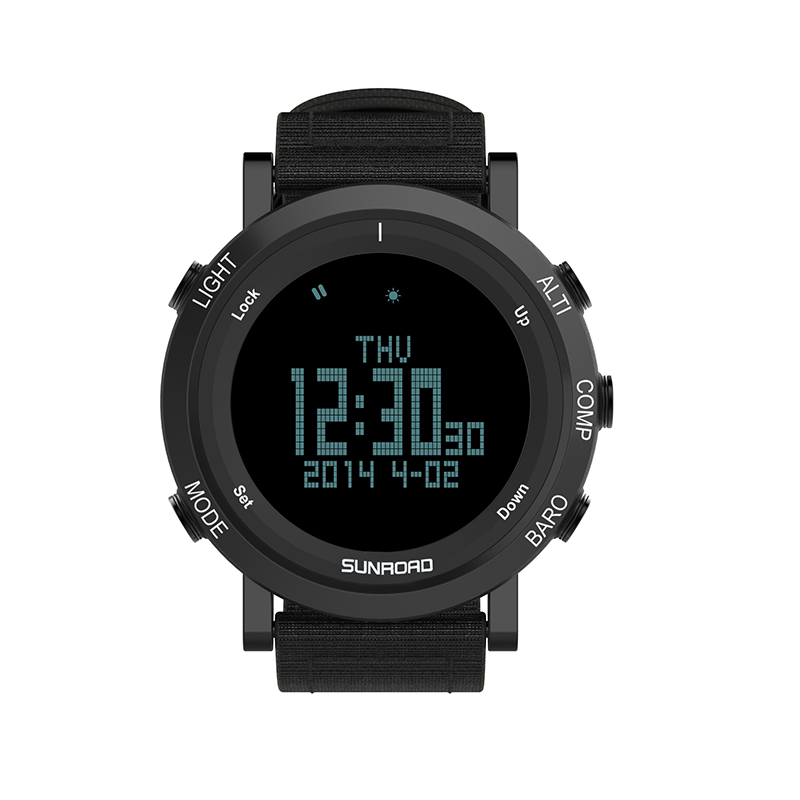 SUNROAD outdoor sports men waterproof digital watch compass pedometer wristband nylon LED chronograph outdoor sports nylon survival paracord bracelet w compass black white