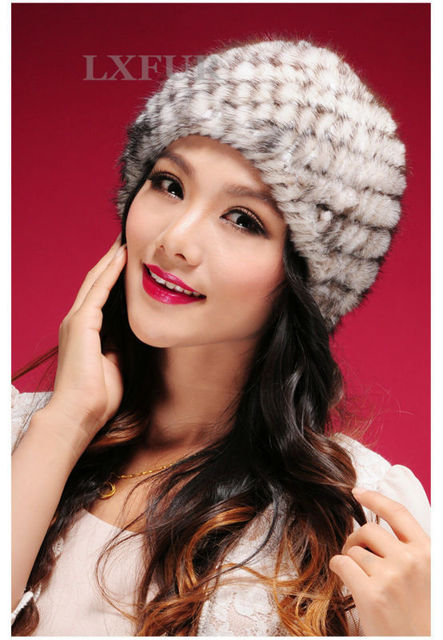 Cute Genuine Knitted Mink Fur Beanies Hats Fashion Womens Mink Fur Knitted Caps Winter Headgear LX00219