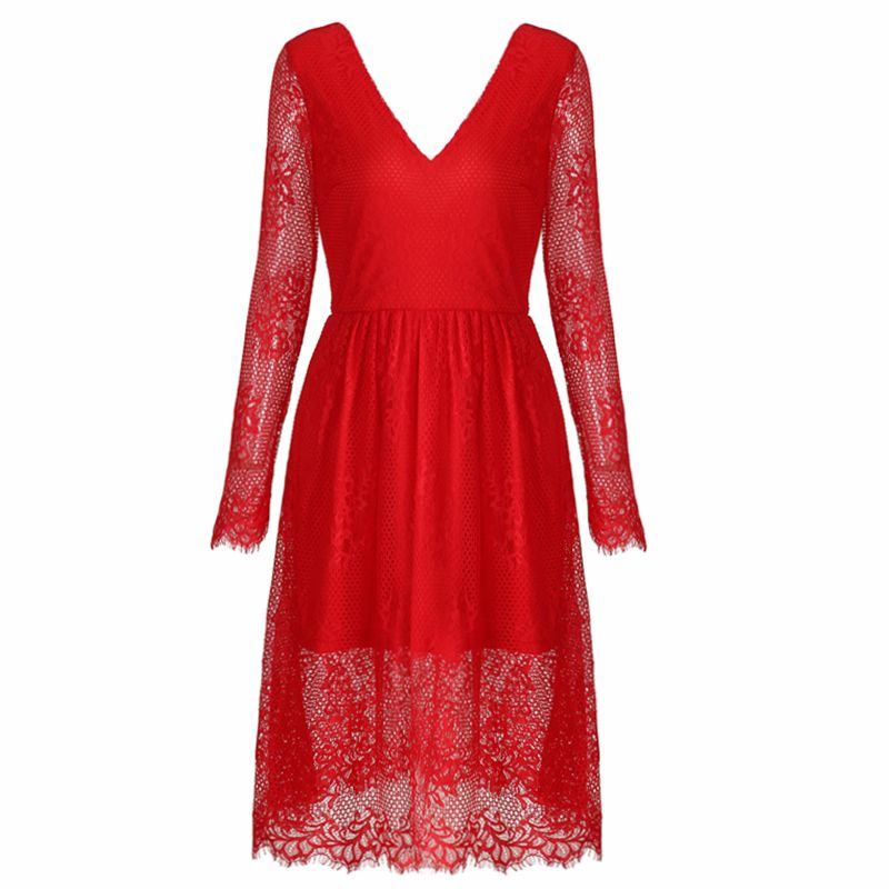 JYSS New fall girly black red sky blue V-neck long-sleeved lace dress women 81187#