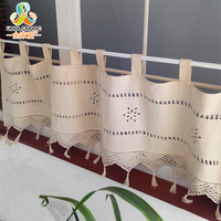 1Pcs Short Panel Curtain Embroidery Cotton Linen Small Window Valance Cutout Style Tab Tape Kitchen Cafe