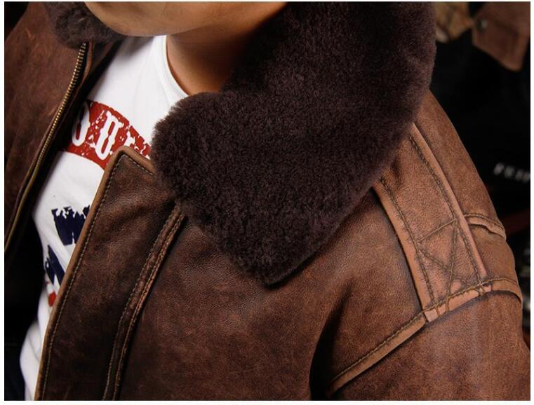 HTB1ewyKiOAKL1JjSZFoq6ygCFXab 2019 Vintage Brown Men A2 Pilot Leather Jacket Wool Collar Size XXL Genuine Thick Cowhide Russian Aviator Coat FREE SHIPPING