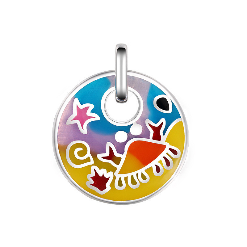 Fashion Color Pattern Round Enamel Pendant Authentic 925 Sterling silver Jewelry DIY Making Fit For Necklace Chain