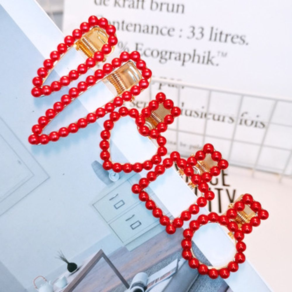 Korea Ins Festive Red Pearl Hairpin New Year Love Heart Folder Clip Bangs Waterdrop Net Red Hair Clip Accesories Dropshipping