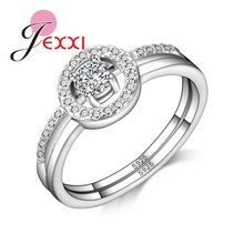 JEXXI New Arrival Trendy Round Style Women 925 Stamped Silver Rings Jewelry Engagement Rings With Luxury Rhinestone Crystal