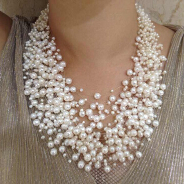 Luxurious style exaggerated necklace natural pearl necklace 39-layer star Pearl Necklace