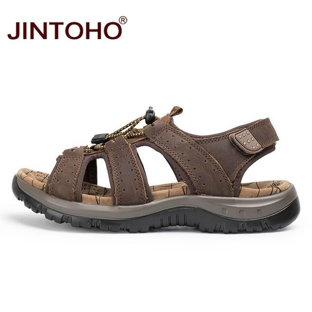 415cdd89514b3 JINTOHO 2018 New Summer Men Beach Shoes Fashion Male Sandals Genuine  Leather Men Sandals Designer Beach