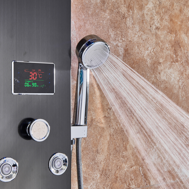 LED Light Shower Faucet Waterfall Rain Black Shower Panel In Wall Shower System with Spa Massage Sprayer Bidet Head Handshower