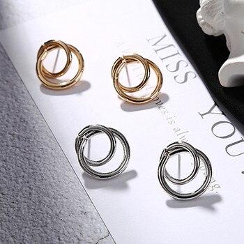 Stud Earrings Women Double Round Geometric Earring Fashion Jewelry  3