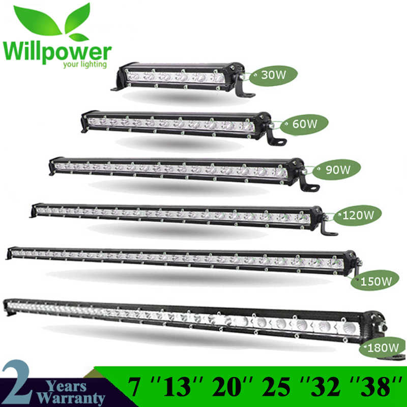 "Lurus Slim LED Light Bar Satu Baris 7 ""13"" 20 ""25"" 32 ""38'' 60W 90W 120W 150W 180W untuk Suv 4X4 ATV Off Road Lampu Kerja LED"