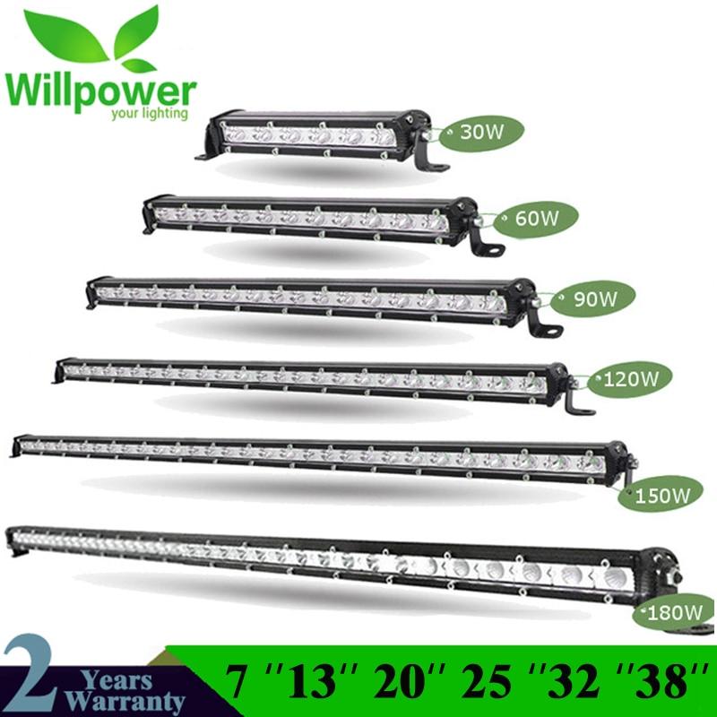 Em linha reta Slim LED Light Bar Single Row 7
