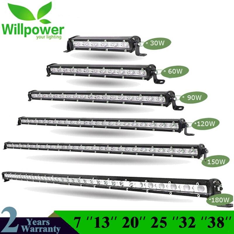 Straight Slim LED Light Bar Single Row 7