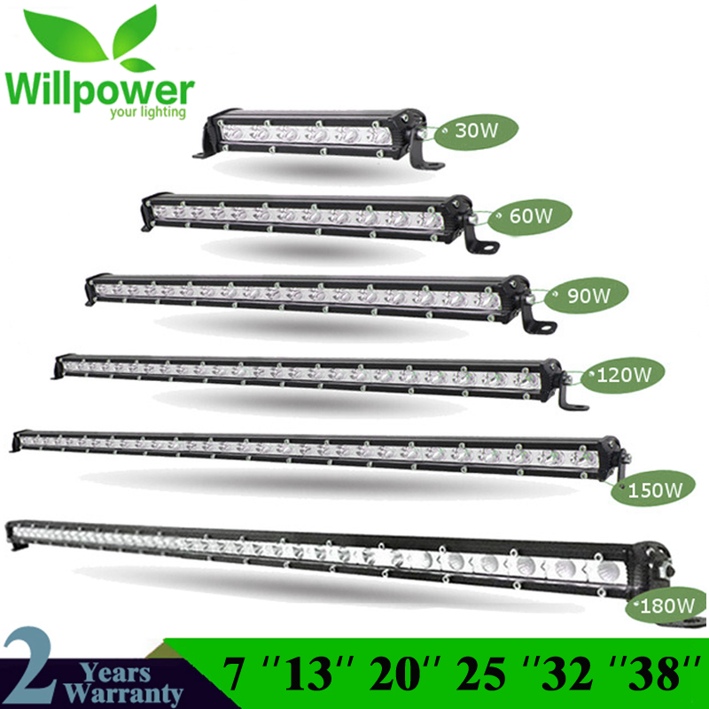 "Straight Slim LED Light Bar Single Row 7"" 13"" 20"" 25"" 32"" 38'' 60W 90W 120W 150W 180W For SUV 4X4 ATV Off Road LED Work Light"