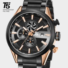 T5 Brand Luxury Black Rose Gold Male Military Quartz Chronograph Waterproof Sport Men Wrist Watch Mens Watches Wristwatch 2019(China)