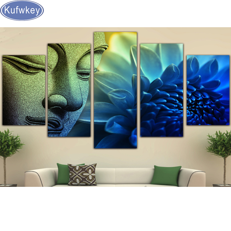 5 Pieces Wall Picture Buddha Painting Flower 5D DIY Diamond Painting diamond Embroidery Full Cross Stitch