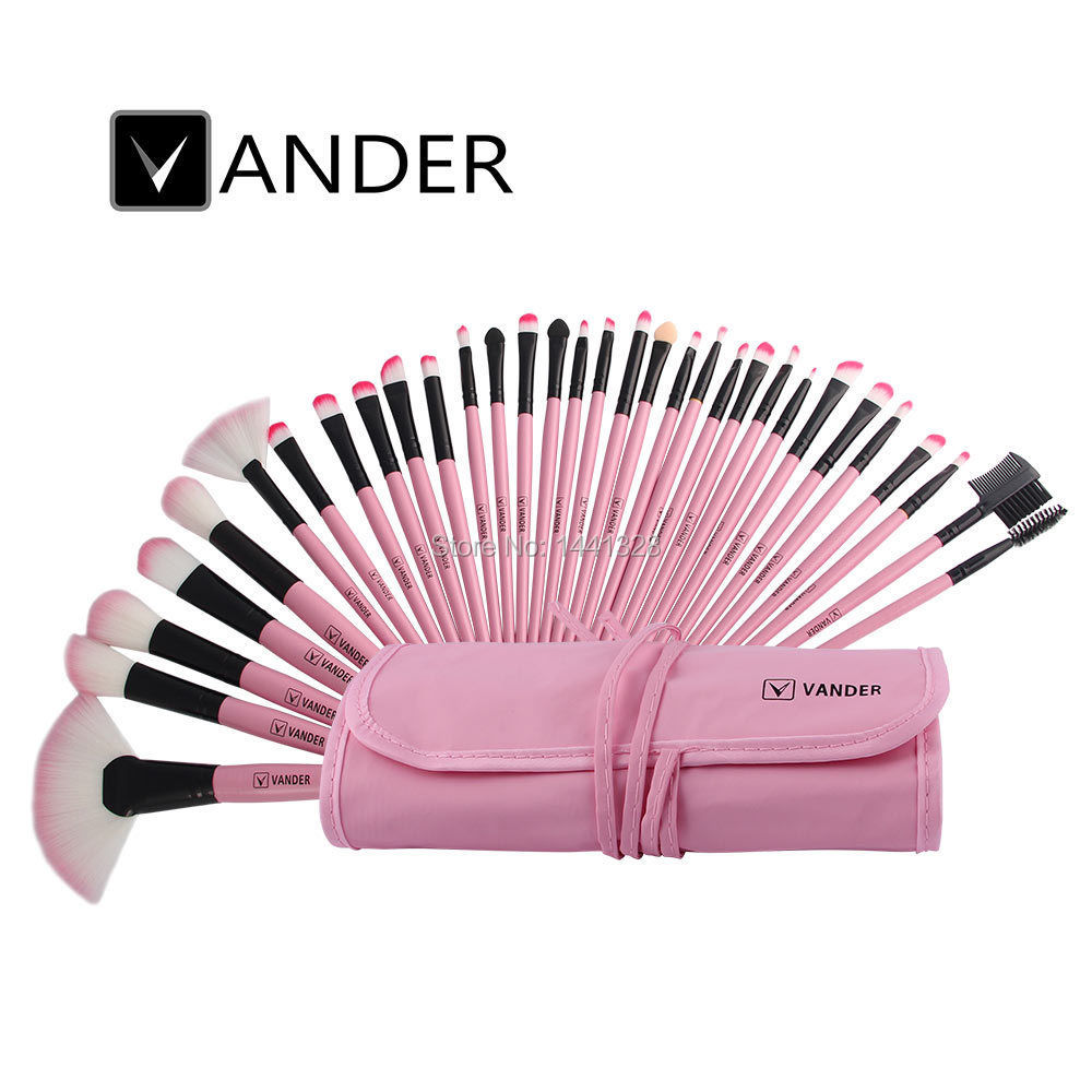 Vander Pink Stylish 32pc Set Cosmetics Eyebrow Shadow Foundation Powder Makeup Brushes Set Tools Gift Kits With Pouch Bag Case