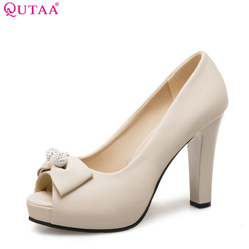 QUTAA 2018 Women Pumps Fashion Round Toe Pu Leather Shoes Butterfly-knot Sweet Style Slip on Casual Ladies Pumps Szie 34-43 free shipping 2017 full grain leather women fashion mixed colors casual pumps slip on ladies office